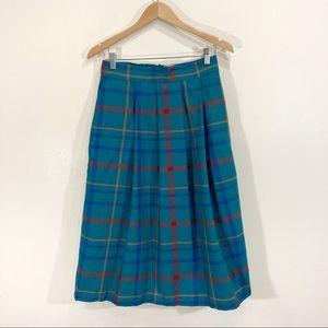 Vintage 80s Louben 100% Wool Plaid Teal Pleated Skirt Sz 4-6
